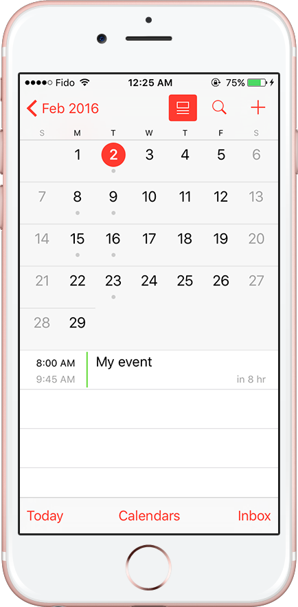 Calendar events on iPhone