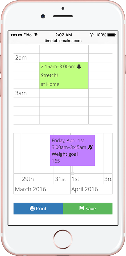 Creating your timetable