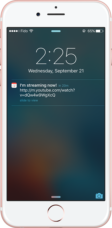 Notification appearing on iPhone